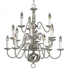 Progress P4359-09 - Fifteen Light Brushed Nickel White Finish Candle Sleeves Glass Up Chandelier