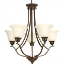 Progress P4605-20 - 5-Lt. chandelier with light umber glass shades and an antique bronze finish.