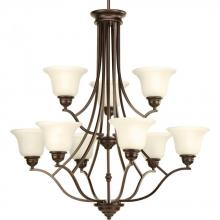 Progress P4611-20 - 9-Lt. chandelier with light umber glass shades and an antique bronze finish.