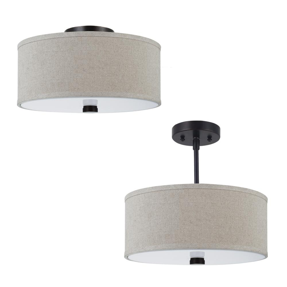 Fluorescent Dayna Two Light Flush Semi Mount Ceiling Fixture In Burnt Sienna With