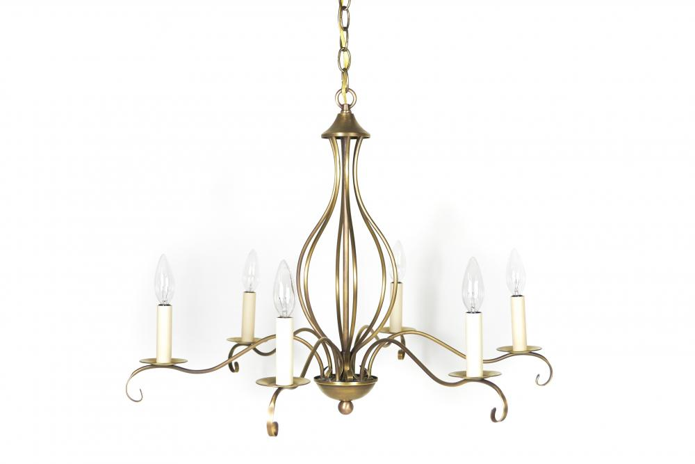Chandelier hanging with curl antique brass 6 candelabra sockets chandelier hanging with curl antique brass 6 candelabra sockets aloadofball Choice Image