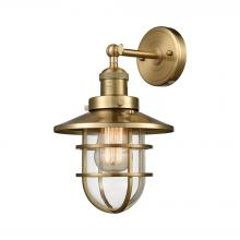 ELK Lighting 66386-1 - Seaport 1-Light Wall Lamp in Satin Brass with Clear Glass